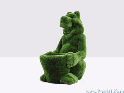 Садовая скульптура - Медведь с корзинкой