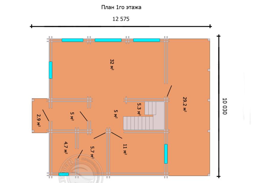 План первого этажа дома из двойного бруса Астон