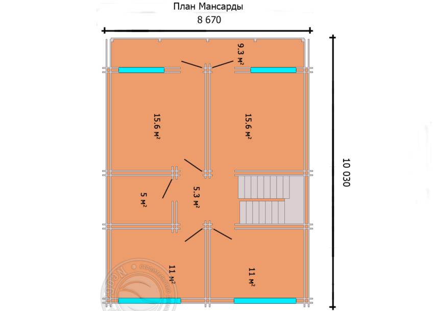 """Дом из двойного бруса с мансардой """"Астон"""" план мансарды план первого этажа"""