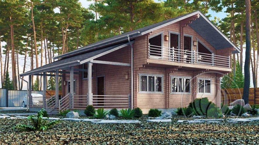Дом из двойного бруса с мансардой Астон