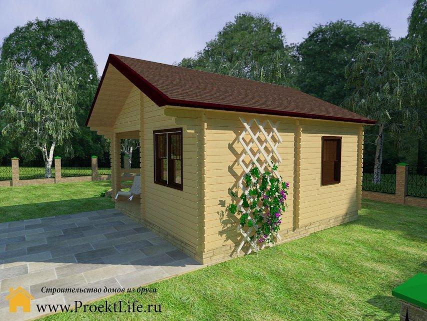 Недорогой дачный домик из мини-бруса