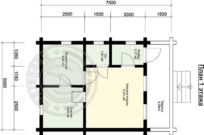 Чудо-баня из бруса 70 мм план