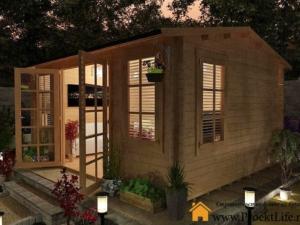 Садовый домик из профилированного мини-бруса по проекту СД-4