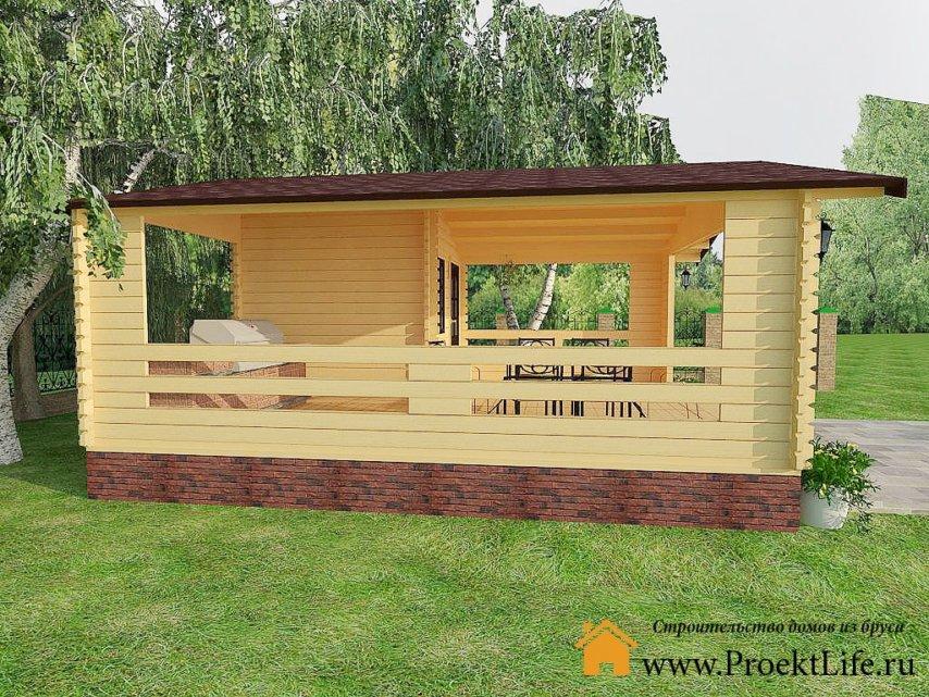 Дачный летний домик из мини-бруса