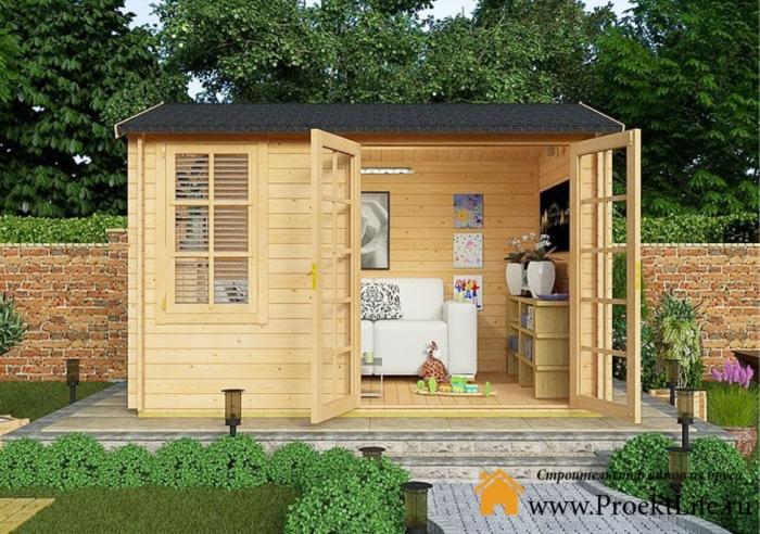 Садовый домик из профилированного мини-бруса СД-3
