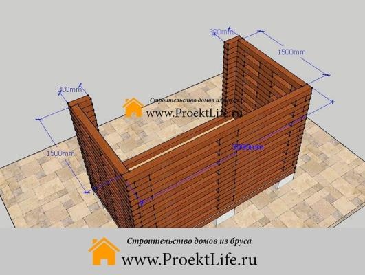 Готовые стены дровника из бруса