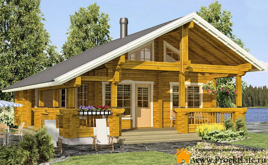 """Дачный дом с баней из бруса 70 мм """"Гарден"""""""