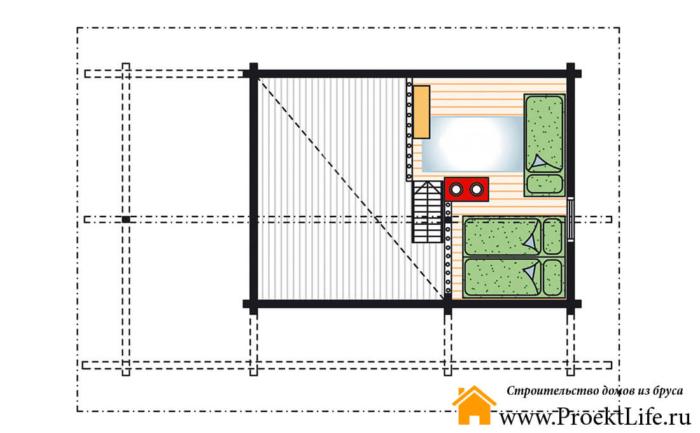 """Загородный дом с баней из бруса 70 мм """"Парадиз"""""""