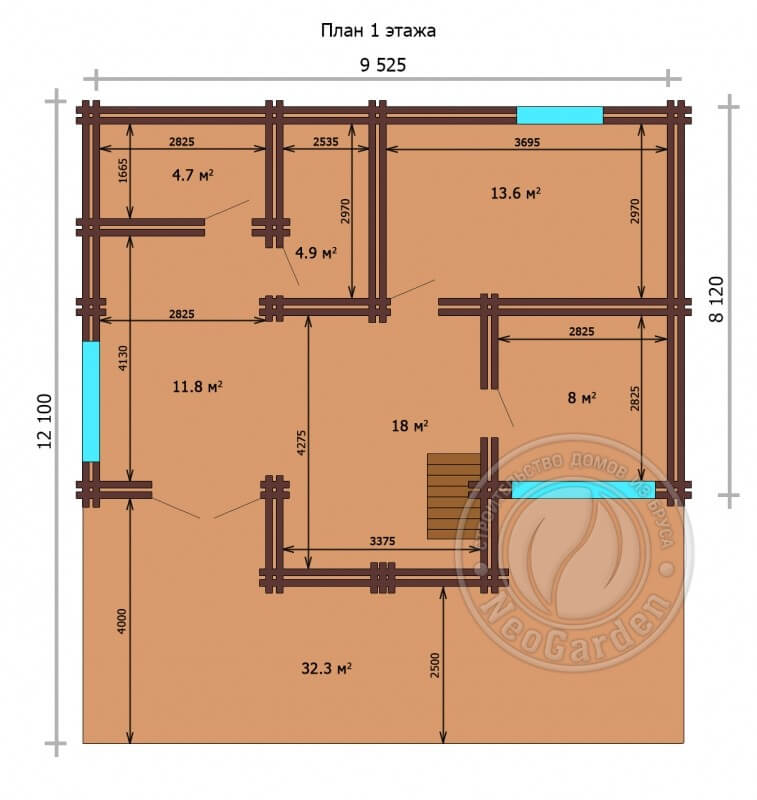 """Дом из двойного бруса """"Меридиан"""" план 1 этажа"""