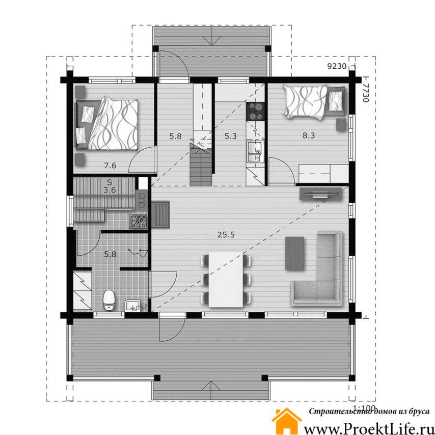 "Дом из бруса 160x160 мм ""Норд"" планировка"