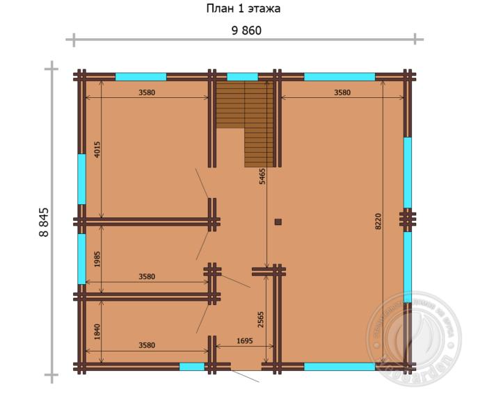 """Загородный дом из двойного бруса """"Мариотт"""" план 1 этажа"""