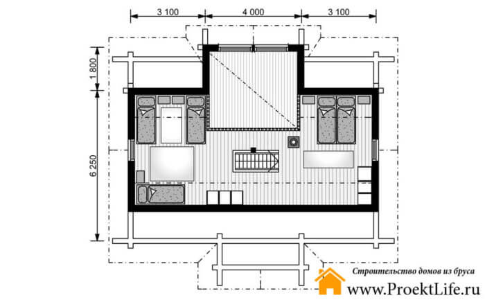 "Дом из бруса 160x160 мм ""Венеда"" план 1 мансарды"