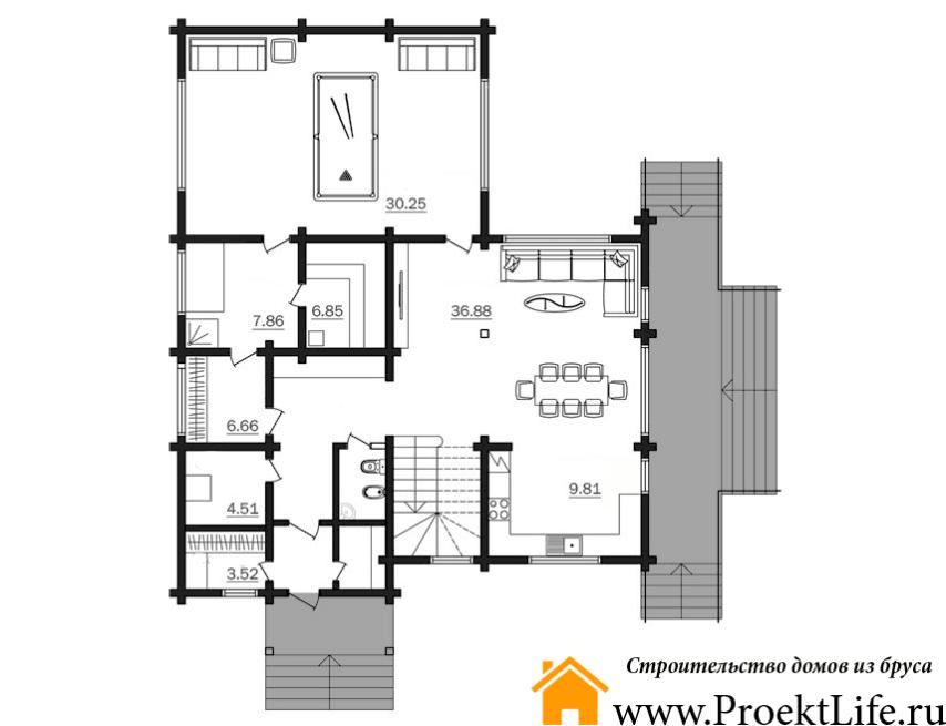 """Дом из бруса 165x165 мм """"Берлес"""" план 1 этажа"""