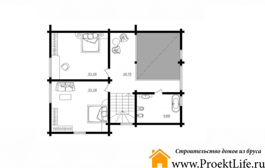 """Дом из бруса 165x165 мм """"Берлес"""" план 2 этажа"""