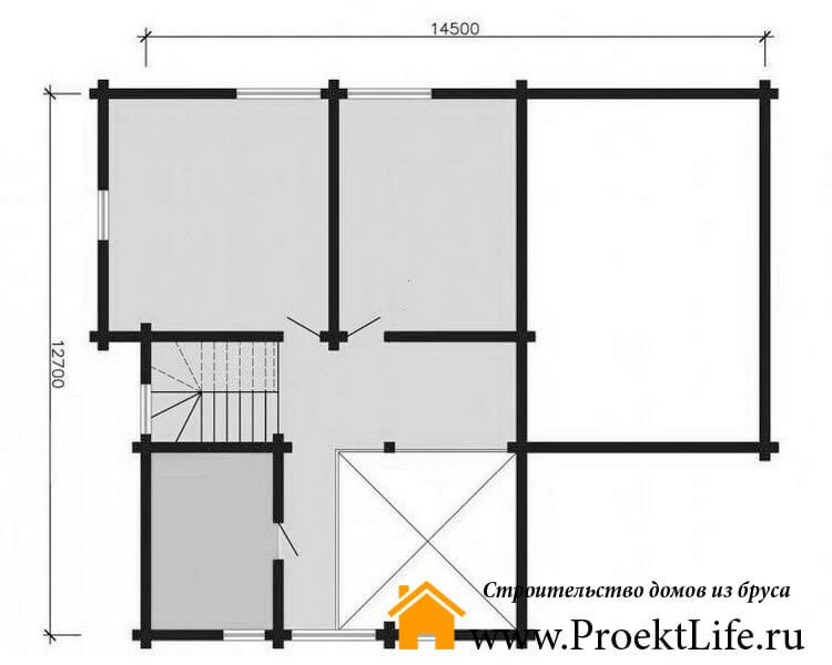 """Дом из бруса 165x165 мм """"Берлес"""" планировка 2 этажа"""