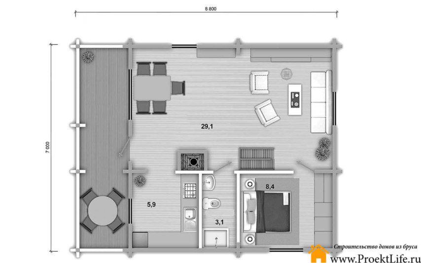 "План 1 этаж дома из бруса 70 мм ""Элита"""